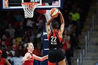 Washington, DC - July 13, 2019: Las Vegas Aces center A'ja Wilson (22) score a clutch basket as time ticks down late in the 4th quarter of game between Las Vegas Aces and Washington Mystics at the Entertainment & Sports Arena in Washington, DC. The Aces defeated the Mystics 81-85. (Photo by Phil Peters/Media Images International)