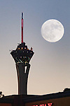 Super Moon double exposure into the Las Vegas Stratosphere