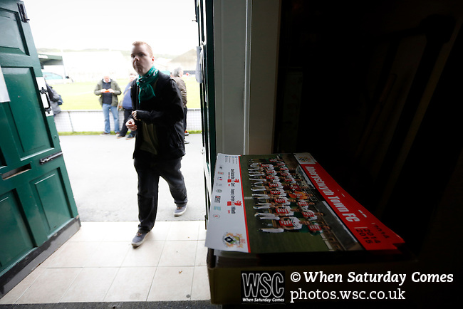 Aberystwyth Town 1 Newtown 2, 17/05/2015. Park Avenue, Europa League Play Off final. A pile Aberystwyth Town team pictures at the entrance to the bar. Aberystwyth finished 14 points above Newtown in the Welsh Premier League, but were beaten 1-2 in the Play Off Final. Photo by Paul Thompson.