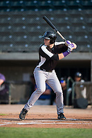 Grand Junction Rockies first baseman Grant Lavigne (40) at bat during a Pioneer League game against the Missoula Osprey at Ogren Park Allegiance Field on August 21, 2018 in Missoula, Montana. The Missoula Osprey defeated the Grand Junction Rockies by a score of 2-1. (Zachary Lucy/Four Seam Images)