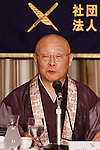June 29th, 2011, Tokyo, Japan - Chief priest Shunwa Yamada of Chusonji Buddhist temple attends a news conference at the foreign press club in Tokyo on Wednesday, June 29, 2011, to celebrate the June 26 recognition of the centuries-old temple and landscape in the ancient town of Hiraizumi in the northeastern Japanese prefecture as UNESCOs World Heritage cultural site.  Yamada presented his opinions on the impact the designation may have on tourism. (Photo by AFLO) [3609] -mis-