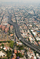 This is the principal traffic artery of Mexico City; the Periferico. Aerial shots of Mexico City
