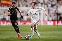 26th February 2020; Estadio Santiago Bernabeu, Madrid, Spain; UEFA Champions League Football, Real Madrid versus Manchester City; Francisco Alarcon, ISCO (Real Madrid) challenged by Riyad Mahrez (Manchester City)