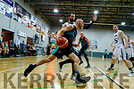 Paul Dick Garveys Tralee Warriors in action Kevin Lacey against GS Swords Thunder at the Tralee Sports Complex on Saturday night.