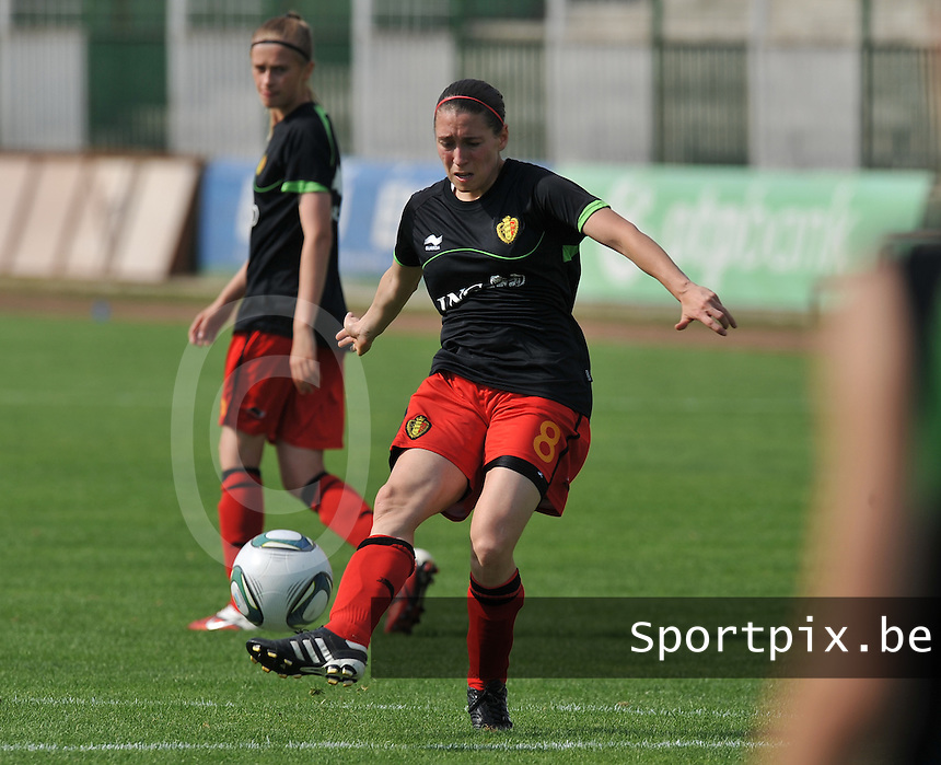 Hungary - Hongarije : UEFA Women's Euro Qualifying group stage (Group 3) - 20/06/2012 - 17:00 - szombathely  - : Hungary ( Hongarije ) - BELGIUM ( Belgie) :.Audrey Demoustier.foto DAVID CATRY / JOKE VUYLSTEKE / Vrouwenteam.be.