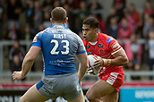 June 4th 2017, AJ Bell Stadium, Salford, Greater Manchester, England;  Rugby Super League Salford Red Devils versus Wakefield Trinity;  Lama Tasi of Salford runs with the ball as Hirst covers his run