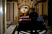 The flag-draped casket of United States Representative Elijah Cummings (Democrat of Maryland) lies in state outside of the House Chamber in the Will Rogers corridor of the U.S. Capitol in Washington, DC on October 24th, 2019. <br /> Credit: Anna Moneymaker / Pool via CNP