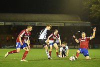 Jon Nolan of Grimsby Town shoots at goal during the Vanarama National League match between Aldershot Town and Grimsby Town at the EBB Stadium, Aldershot, England on 5 April 2016. Photo by Paul Paxford / PRiME Media Images.