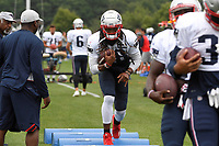 August 1, 2018: New England Patriots running back Brandon Bolden (38) works at a drill at the New England Patriots training camp held on the practice fields at Gillette Stadium, in Foxborough, Massachusetts. Eric Canha/CSM