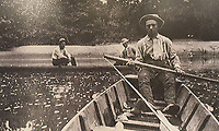 Courtesy photo<br /> Wooden jon boats got anglers floating down the White River in the decades before Beaver Lake, as seen in this photo on display at the Rogers Historical Museum.