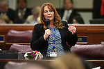 Nevada Assembly Minority Leader Marilyn Kirkpatrick, D-North Las Vegas, speaks in support of Gov. Brian Sandoval's $1.1 billion tax plan during the Assembly floor debate at the Legislative Building in Carson City, Nev., on Sunday, May 31, 2015. The Assembly approved the plan 30-10 after a two-hour passionate debate. <br /> Photo by Cathleen Allison