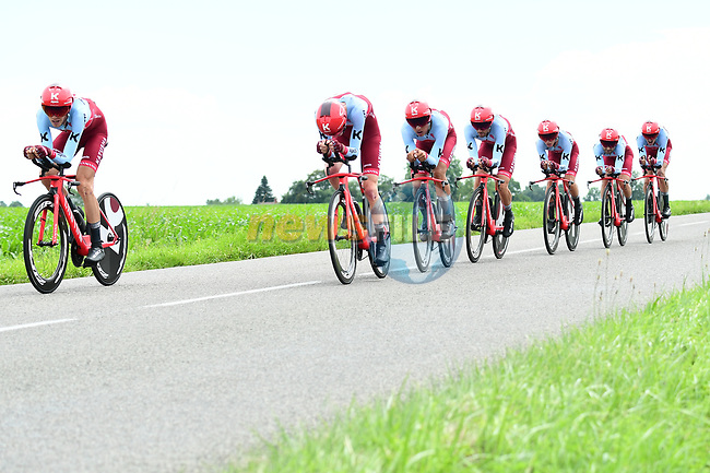 Team Katusha-Alpecin in action during Stage 3 of the 2018 Criterium du Dauphine 2018 a Team Time Trial running 35km from Pont de Vaux to Louhans Chateaurenaud, France. 6th June 2018.<br /> Picture: ASO/Alex Broadway | Cyclefile<br /> <br /> <br /> All photos usage must carry mandatory copyright credit (© Cyclefile | ASO/Alex Broadway)
