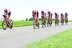 Team Katusha-Alpecin in action during Stage 3 of the 2018 Criterium du Dauphine 2018 a Team Time Trial running 35km from Pont de Vaux to Louhans Chateaurenaud, France. 6th June 2018.<br /> Picture: ASO/Alex Broadway | Cyclefile<br /> <br /> <br /> All photos usage must carry mandatory copyright credit (&copy; Cyclefile | ASO/Alex Broadway)