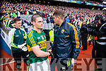 Stephen O'Brien and Eamon Fitzmaurice, Kerry Manager,  after defeating Tyrone in the All Ireland Semi Final at Croke Park on Sunday.