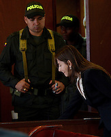 MEDELLÍN - COLOMBIA, 13-05-2014.  La directora de obra de esta unidad residencial, María Cecilia Posada Grisales, no aceptó el cargo de homicidio culposo en la audiencia de imputación de cargos que se realiza este martes en el caso de la Torre 5 del edificio Space de la ciudad de Medellín que se desplomó en el mes de octubre de 2013 y que terminó con la demolición de la torre 5./ The director of project of this residential unit, María Cecilia Posada Grisales not accepted the charge of manslaughter at the hearing of complaint charges Tuesday is done in the case of the Space Tower 5 building of the city of Medellin which collapsed in October 2013 and ended with the demolition of the tower 5..  Photo: VizzorImage/Luis Rios/STR