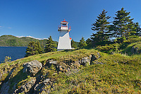Lighthouse on Bonne Bay. Woody Point. <br /> Gros Morne National Park<br /> Newfoundland & Labrador<br /> Canada