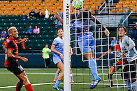 Rochester, NY - Friday July 01, 2016: Chicago Red Stars goalkeeper Michele Dalton (18), Chicago Red Stars defender Samantha Johnson (16), Western New York Flash midfielder Lianne Sanderson (10) during a regular season National Women's Soccer League (NWSL) match between the Western New York Flash and the Chicago Red Stars at Rochester Rhinos Stadium.