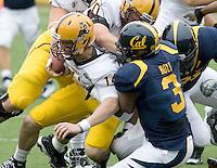 D.J. Holt of California sacks ASU quarterback Steven Threet during the game at Memorial Stadium in Berkeley, California on October 23rd, 2010.  California defeated Arizona State, 50-17.
