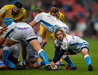 24th November 2019; AJ Bell Stadium, Salford, Lancashire, England; European Champions Cup Rugby, Sale Sharks versus La Rochelle; Faf de Klerk of Sale Sharks looks to clear the ball - Editorial Use