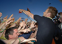 Blur's Damon Albarn entertains the crowd on main stage at T in the Park...  ...