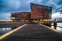 Harpa Concert Hall and Conference Centre at night, Reykjavik, Iceland