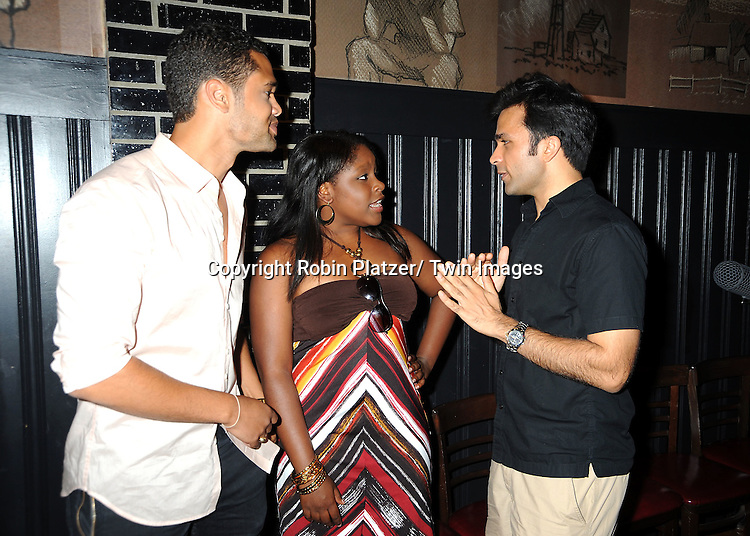 Barret Helms, Shenell Edmonds and Nick Choksi attending the 5th Annual Sean Ringgold Fan Club Party on August 12, 2011 at HB Burger's Sunken Bar in New York City.