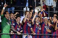 FUSSBALL  CHAMPIONS LEAGUE  FINALE  SAISON 2014/2015   Juventus Turin - FC Barcelona                 06.06.2015 Der FC Barcelona gewinnt die Champions League 2015: Torwart Claudio Bravo, Lionel Messi, Ivan Rakitic, Andres Iniesta und Neymar jubeln in der ersten Reihe