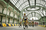 Team Sky led by Michal Kwiatkowski (POL) ride through le Grand Palais during Stage 21 of the 104th edition of the Tour de France 2017, an individual time trial running 1.3km from Montgeron to Paris Champs-Elysees, France. 23rd July 2017.<br /> Picture: ASO/Pauline Ballet | Cyclefile<br /> <br /> <br /> All photos usage must carry mandatory copyright credit (&copy; Cyclefile | ASO/Pauline Ballet)