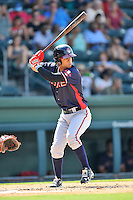 Left fielder Leudys Baez (27) of the Rome Braves bats in a game against the Greenville Drive on Sunday, July 31, 2016, at Fluor Field at the West End in Greenville, South Carolina. Rome won, 6-3. (Tom Priddy/Four Seam Images)