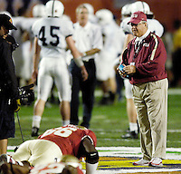 Coach Bowden watches his players during pre-game warm-ups before the 2006 FedEx Orange Bowl Game.
