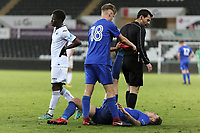 Pictured: Causso Darame of Swansea (L). Tuesday 01 May 2018<br /> Re: Swansea U19 v Cardiff U19 FAW Youth Cup Final at the Liberty Stadium, Swansea, Wales, UK
