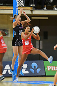 7th September 2017, Te Rauparaha Arena, Wellington, New Zealand; Taini Jamison Netball Trophy; New Zealand versus England;  Englands Geva Mentor takes a pass guarded by Silver Ferns Te Paea Selby-Rickit