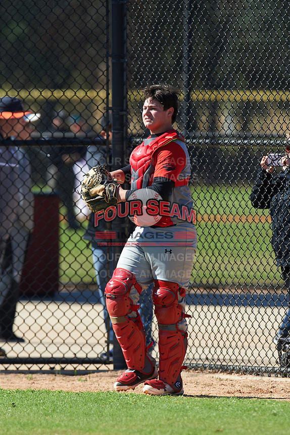 Layden White (8) of Lubbock, Texas during the Baseball Factory All-America Pre-Season Rookie Tournament, powered by Under Armour, on January 14, 2018 at Lake Myrtle Sports Complex in Auburndale, Florida.  (Michael Johnson/Four Seam Images)