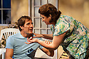 "London, UK. 28/09/2011. ""Terrible Advice"" by Saul Rubinek opens at the Menier Chocolate Factory. Starring Caroline quentin, Scott Bakula, Andy Nyman and Sharon Horgan. L to R: Scott Bakula (as Jake) and Caroline Quentin (as Hedda). Photo credit: Jane Hobson"