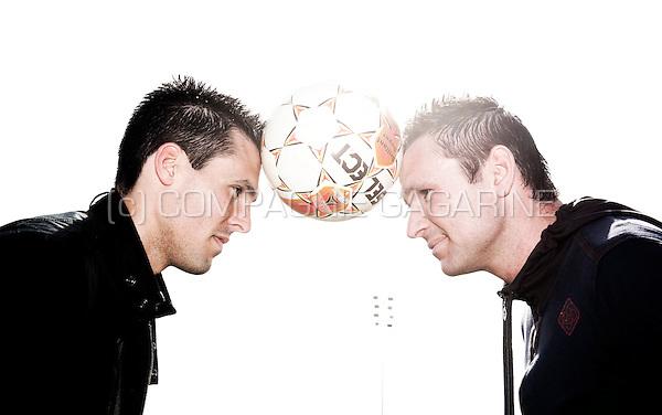 Belgian football players Jérémy Perbet and Cédric Roussel (Belgium, 19/03/2012)