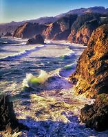 Waves and rocky coastline at Boardman State Park, Oregon