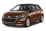 2015 Hyundai I20 Intro Edition 5 Door Hatchback Angular Front stock photos of front three quarter view