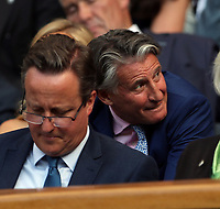 LONDON, ENGLAND - JULY 06: David Cameron, Lord Sebastian Coe attend day five of the Wimbledon Tennis Championships at the The All England Lawn Tennis Club on July 6, 2018 in London, England<br /> CAP/MPI122<br /> &copy;MPI122/Capital Pictures