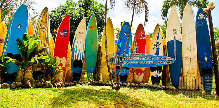 "This well-known surfboard fence borders Ka'ohu Farms, which is owned by a local surfer in Pe'ahi, Maui. This location was the final leg in the television show ""The Amazing Race."""
