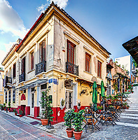 A picturesque cafe of Plaka in Athens, Greece