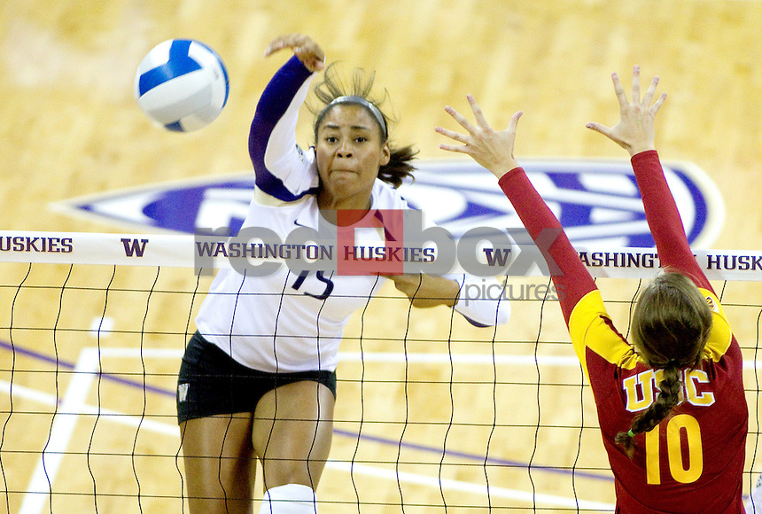 Bianca Rowland.The University of Washington women's volleyball team plays USC Trojans at Alaska Airlines Arena at the University of Washington in Seattle on Friday September 16, 2011. (Photography By Scott Eklund/Red Box Pictures)