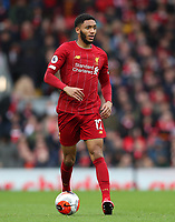 7th March 2020; Anfield, Liverpool, Merseyside, England; English Premier League Football, Liverpool versus AFC Bournemouth; Joe Gomez of Liverpool looks up before passing the ball