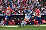 Atletico de Madrid's Santiago Arias (L) and Jose Maria Gimenez (R) and CD Leganes's Youssef En-Nesyri during La Liga match between Atletico de Madrid and CD Leganes at Wanda Metropolitano stadium in Madrid, Spain. March 09, 2019. (ALTERPHOTOS/A. Perez Meca)