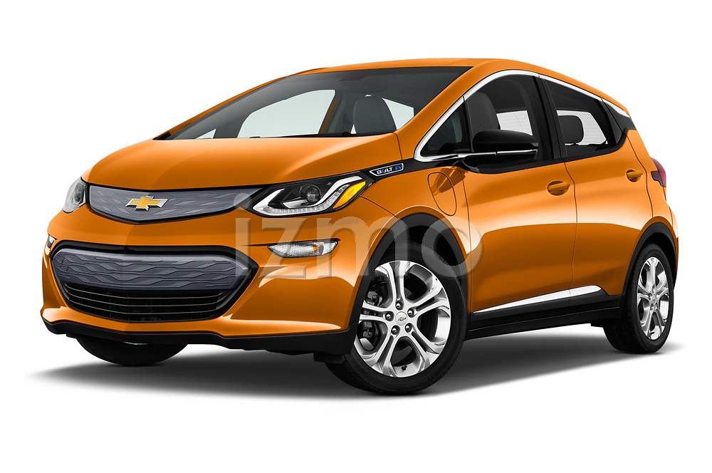 Stock pictures of low aggressive front three quarter view of 2019 Chevrolet Bolt-EV LT 5 Door Hatchback Low Aggressive