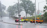 WATERBURY , CT-080420JS05—Police blocked off a portion of Watertown Avenue in Waterbury after trees took down some wires as Tropical Storm Isaias tore through the region on Tuesday leaving a path of damage and many without power. <br /> Jim Shannon Republican-American