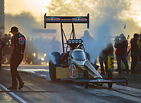 Jun 1, 2018; Joliet, IL, USA; NHRA top fuel driver Leah Pritchett during qualifying for the Route 66 Nationals at Route 66 Raceway. Mandatory Credit: Mark J. Rebilas-USA TODAY Sports
