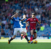 9th September 2017, Ibrox Park, Glasgow, Scotland; Scottish Premier League football, Rangers versus Dundee; Dundee's Faissal El Bakhtaoui shields the ball from Rangers' Ryan Jack
