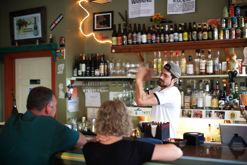 Geneva, NY - June 22, 2016: Kashong Creek, a bar focusing on ciders, on the up and coming Linden Street strip of bars and restaurants, which is drawing young locals and visitors to Downtown Geneva.<br /> <br /> CREDIT: Clay Williams.<br /> <br /> &copy; Clay Williams / claywilliamsphoto.com