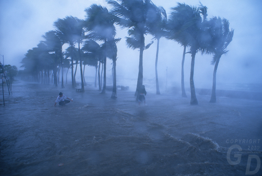 A tropical Typhoon trashes the shoreline in Manila Bay,Philippines