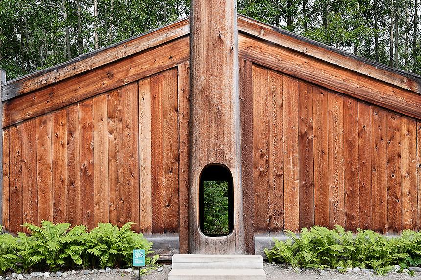 Wooden clan house, Alaska Native Heritage Center, Anchorage, Alaska, USA
